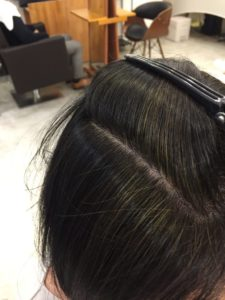 東京銀座くせ毛専門,ハナヘナの2度染め、インディゴの染まり具合