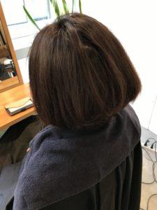 東京銀座くせ毛専門,40代女性の縮毛矯正アイロン直後