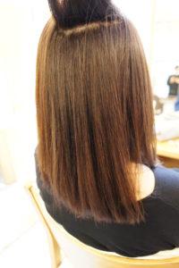 東京銀座くせ毛専門,縮毛矯正と白髪染めの同時施術、40代女性