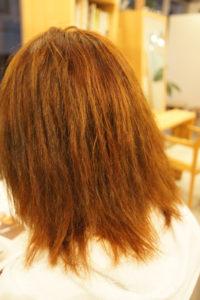 東京銀座くせ毛専門,他店にて縮毛矯正に失敗したダメージ髪